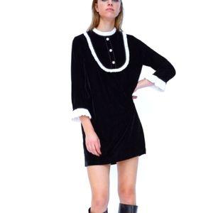 ⭐2X HOST PICK⭐ZARA Black Velvet Bib White Ruffle Shift Dress